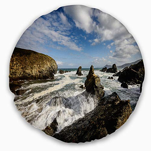 Designart CU9419-20-20-C Blue Atlantic Coast in Spain' Seashore Photo Throw Cushion Pillow Cover for Living Room, Sofa, 20'' Round, Pillow Insert + Cushion Cover Printed on Both Side by Designart