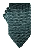 Knit Skinny Tie | Knitted Slim Tie for Men | Groomsmen Wedding Neckties (One Size, Green)