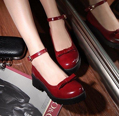 Show Shine Womens Fashion Retro Bow Cinturino Alla Caviglia Scarpe Rosso Vino