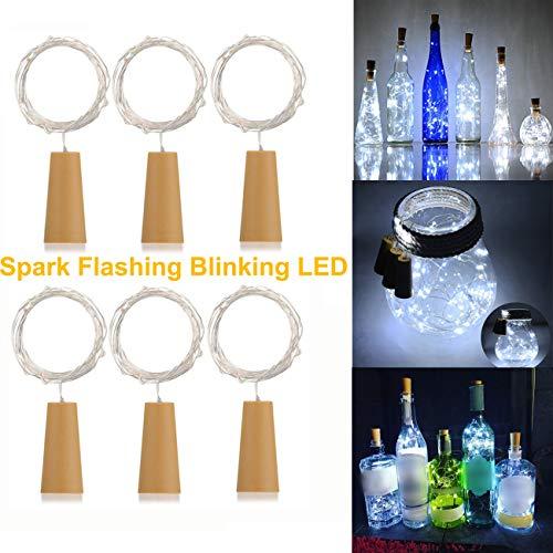 AlleTechPlus 6 Pack 20-LEDs Spark Flashing Wine Bottle Light, Cork Shape Battery Copper Wire String Lights for DIY Christmas, Wedding and Party Décor Blinking (White) ()
