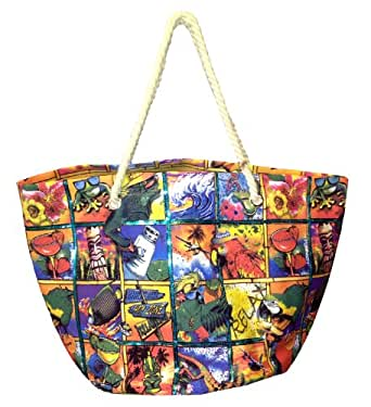 """Oversize Caribbean Party Print Canvas Beach Tote Bag - W24"""" D14"""" H15"""" (Green Lining)"""