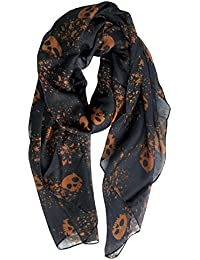 Cool Skull Print Wrap Scarf Lightweight Winter Scarves