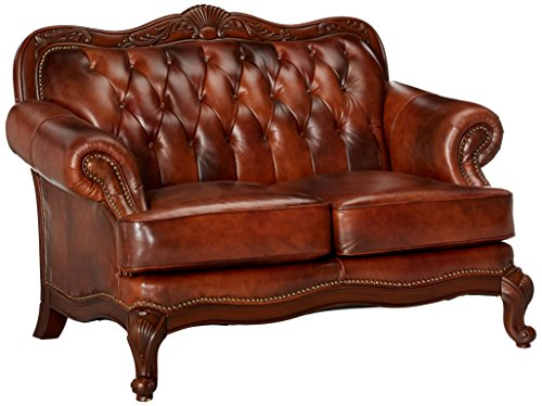 Victoria Button Tufted Loveseat Tri-tone Warm Brown ()