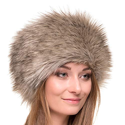Futrzane Russian Faux Fur Hat for Women - Like Real Fur - Comfy Cossack Style (M, Siberian Wolf)