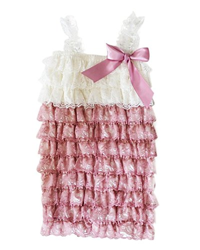 s' Lace Ruffle Romper (Small-0-6 months, TwoTone Dust/Ivory) (Two Tone Small Girl)