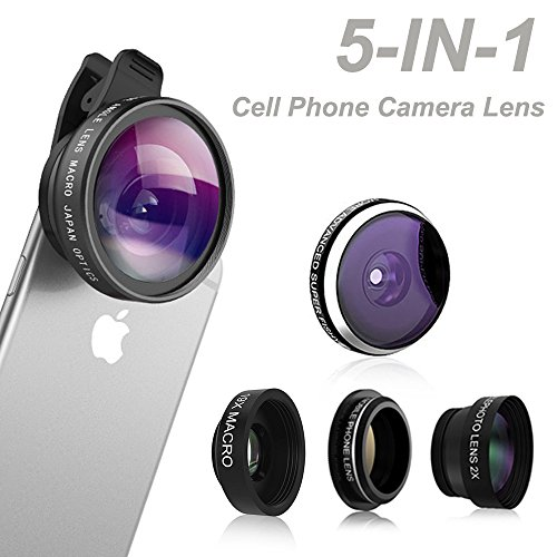 Price comparison product image Phone Camera Lens, Comsun 5 in 1 Universal Clip-on Cell Smartphone Camera Lens Kit, 235 Degree Fisheye, 0.4X Wide Angle, 19X Macro, 2X barlow, CPL