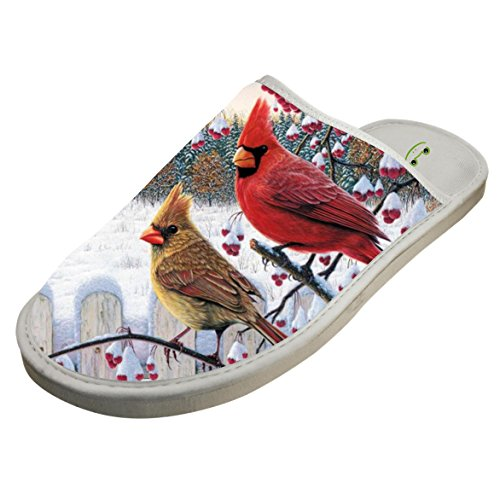 Cardinal Slippers - Cotton Winter Bird Snow House Slippers Babouches Baboosh Chinela Slipper For Man Woman Kids Children