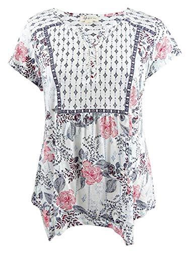 Style & Co. Womens Plus Flutter Sleeve Handkerchief Hem Peasant Top White 2X (Sleeve Tops Plus Flutter)