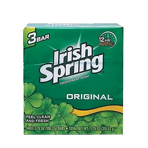 Irish Spring Deodorant Soap Original Bar, 3 Count 3.75 Ounce, 4 Packs, Total 12 Bars