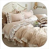 HANBINGPO Luxury Embroidery Wedding Bedding Set Lace Ruffle Duvet Cover Elegant Bed Sheet Bedspread Romantic Bedroom Decoration Beddings,Full