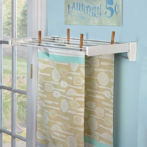 Wall Mount 5 Line Clothing Drying Rack Clothes Hanger Laundr