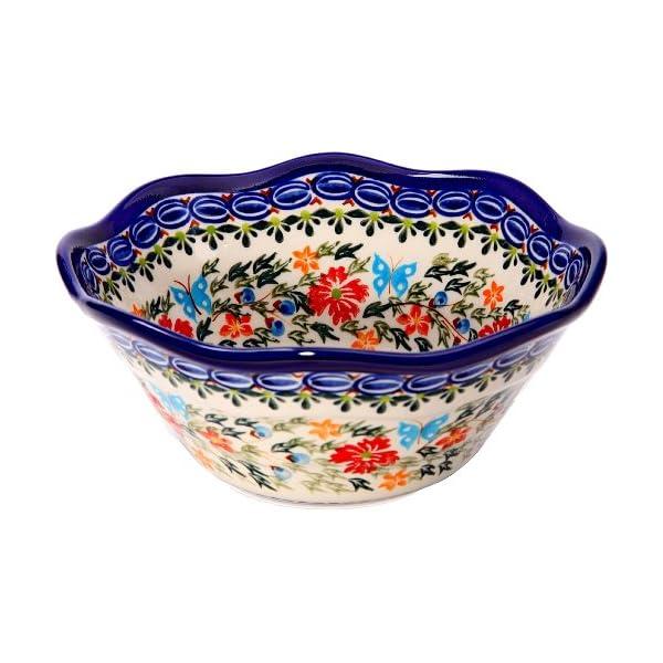 Polish Pottery Ceramika Boleslawiec, 0423/238, Bowl Viki 1, 3 1/4 Cups, Royal Blue Patterns with Red Cornflower and Blue Butterflies Motif