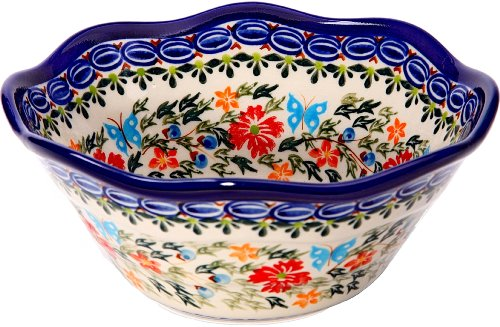 (Polish Pottery Ceramika Boleslawiec,  0423/238, Bowl Viki 1, 3 1/4 Cups, Royal Blue Patterns with Red Cornflower and Blue Butterflies Motif)