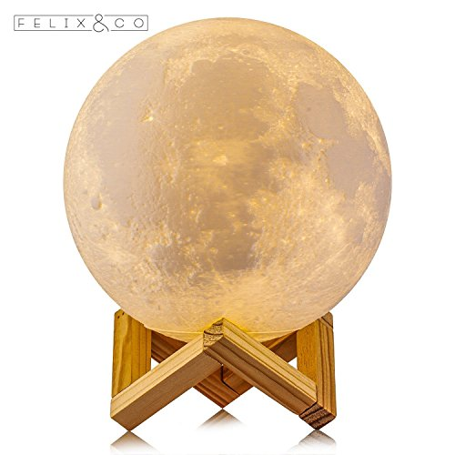 Price comparison product image 3D Moon Lamp Night Light - Felix&Co LED Warm Yellow and Cool White,  Dimmable Touch Control Rechargeable USB Charging Home Light Decorative Children / Baby Large Lunar Desk Lamp 5.1inch Diameter