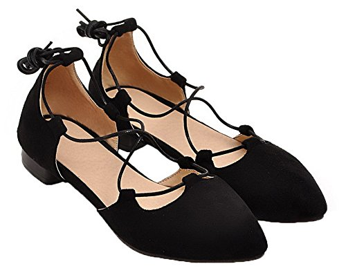 Solid Toe Women Black VogueZone009 Closed up Frosted Heels Sandals Low Lace q6Uw8nUT