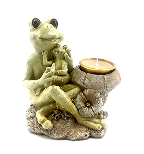 (Bellaa 22366 Frog Statues Mother Baby TLight Candle Holder)