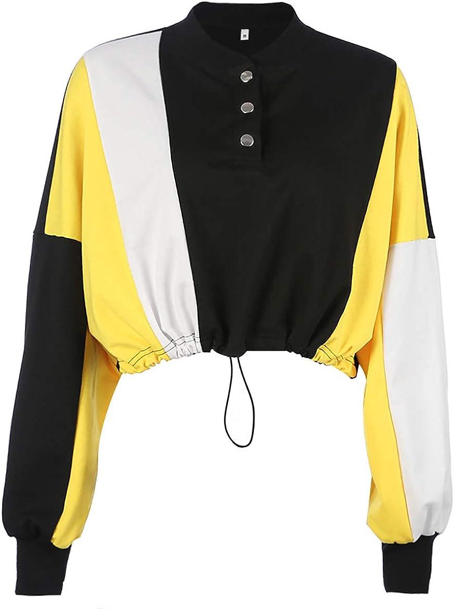 SIMYJOY Frauen Crop Top Hoodie Splei/ßen Farbe Sweatshirt Baumwolle Langarm Casual Fashion Kapuzenpullover