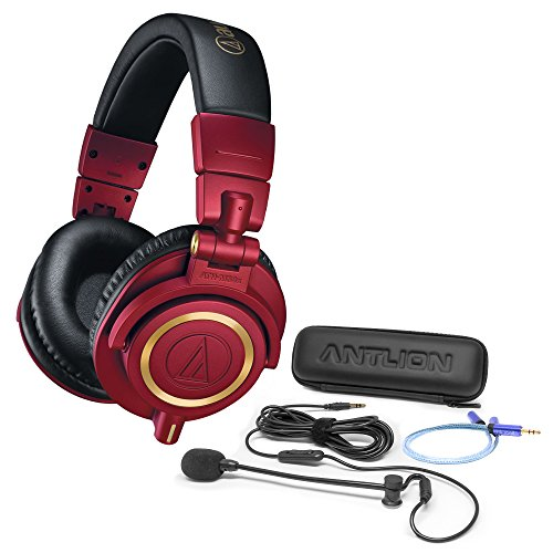 Audio-Technica ATH-M50xRD Professional Studio Headphones -INCLUDES- Antlion Audio ModMic 4 Uni-Directional Attachable Boom Mic w/ Mute Switch + Y Splitter - LIMITED EDITION GAMING BUNDLE by blucoil (Image #1)