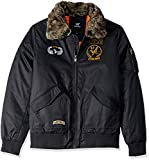 X-Ray Men's Slim Fit Flight Jacket with Removable Faux Fur Collar, Navy, Medium