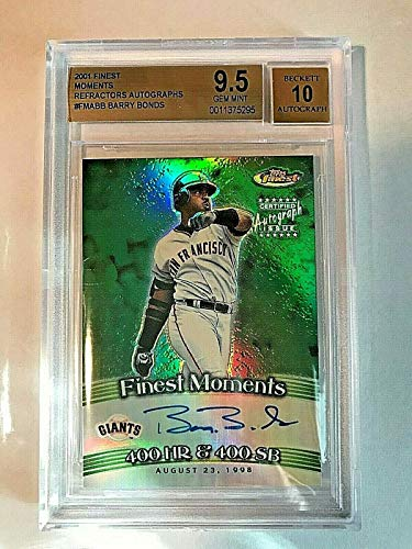 2001 Finest Moments Refractor Barry Bonds Autograph BGS GEM MINT 9.5 AUTO 10