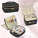 Luxja Travel Case for Jewelry and Makeup, Double-layer Makeup Train Case with Compartment for Jewelry and Other Beauty Supplies, Black
