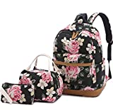 Sqoto School Backpack, Teen Girls Canvas College Bookbag with Lunch Bag Pencil Case Laptop Bag Travel Daypack