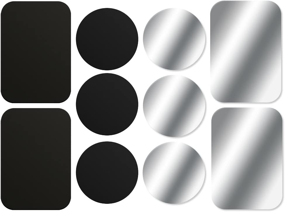 AJOXEL [10 Piezas láminas Metálicas (6 Redondas y 4 rectangulares) con Adhesivos Muy Finas Reemplazo de Placas de Metal para Soporte Movil Coche Magnético/Soporte iman movil Coche - Negro+Plata