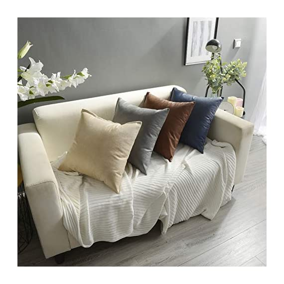 CZHO Pack of 2, Soft Decorative Faux Leather Pillow Covers, Square Modern Outdoor Cushion Case, Durable Rustic Throw Pillow Cover Shell for Couch Sofa Bed 18x18 Inch (Stone Grey) - Material: 100% durable Polyresin (not real faux leather, it is leather looking), very soft and enviroment-friendly. After receiving item, creases will come out when you insert throw pillow. PACKAGE: Include 2 pcs 18 x 18 Inch / 45X45cm Faux Leather Pillow Covers ONLY. NO CUSHION INSERTS. DESIGN: Same design / pattern on BOTH SIDES of these Faux Leather Cushion Covers. These REVERSIBLE pillow shams come with SEMI-HIDDEN ZIPPER (Sturdy and Smooth) for elegance. Full opening (18 Inch) on one side for EASY INSERTION and removal of pillows. Tight zigzag over-lock stitches to avoid fraying and ripping. - patio, outdoor-throw-pillows, outdoor-decor - 511KWaI3QKL. SS570  -