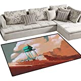 cleveland browns robot - Fantasy Girls Rooms Kids Rooms Nursery Decor Mats Little Wood House on Stone Hill with Robot on The Cloudy Roof Calming Artwork Print Bath Mats for Floors 3'x5' Tan Green