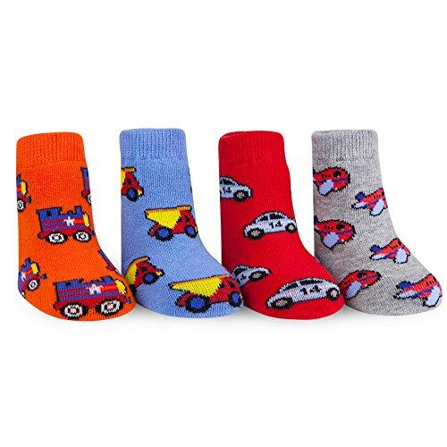 Waddle Transportation Baby Socks Planes Trains Cars and Trucks Newborn - Baby Car Theme Boy Race