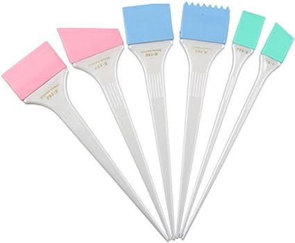 Lurrose Cepillo de Tinte de Silicona de 6 piezas para el Teñido del Cabello Pincel de Mezcla de Color de Cabello para Peluquería (manija blanca)