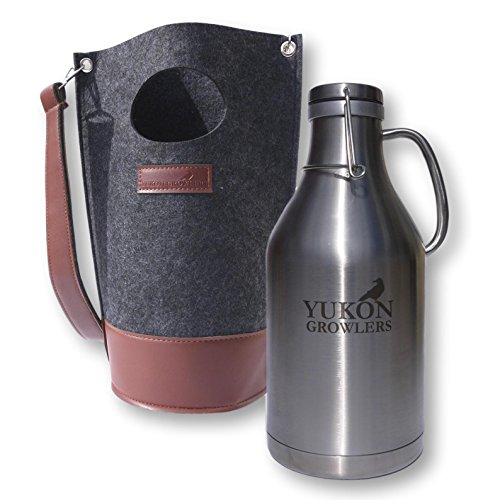 Yukon Growlers Premium Insulated Stainless Steel Growler with Felt Case - Keep Your Beer Cold and Carbonated for 24 Hours - Double-Walled Vacuum Growler with Swing-Top Lid and Handle for Easy Pouring