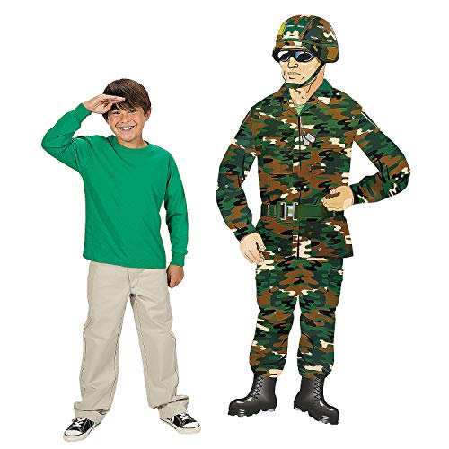 Fun Express - Large Camo/army Guy Jointed Cutout for Birthday - Party Decor - Wall Decor - Cutouts - Birthday - 1 Piece