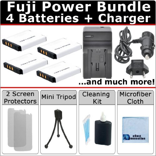 (4 NP-50 Batteries + AC/DC Turbo Charger with Travel Adapter + Complete Deluxe Kit for Fujifilm FinePix F80 EXR F80EXR F85 F85EXR F100 fd F100fd F200 EXR F200EXR F300 F300EXR F305 F305EXR F500 F500EXR F505 F505EXR F550 F550EXR F600 F600EXR F605 F605EXR Camera)