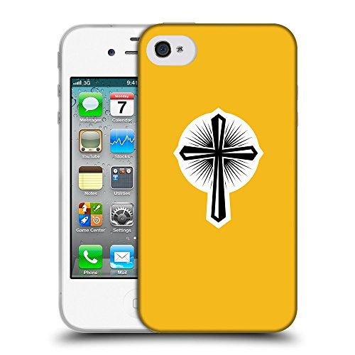GoGoMobile Coque de Protection TPU Silicone Case pour // Q09360602 Croix chrétienne 46 ambre // Apple iPhone 4 4S 4G