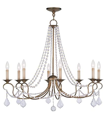 Chandeliers 8 Light with Clear Crystals Antique Gold Leaf Size 34 in 480  Watts - World - Chandeliers 8 Light With Clear Crystals Antique Gold Leaf Size 34 In