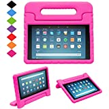 TIRIN Shock Proof Case for Fire HD 8 2017/2018 Tablet–Kids Proof Convertible Handle Light Weight Protective Stand Case for All-New Amazon Fire HD 8 Tablet (8th/7th Generation, 2018/2017 Release), Rose