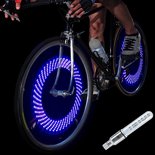 DAWAY A08 Bike Tire Valve Stem Light - LED Waterproof Bicycle Wheel Lights Neon Flashing Lamp Glow in The Dark Cool Safe Accessories (1 Pack, Blue+Graphics) -