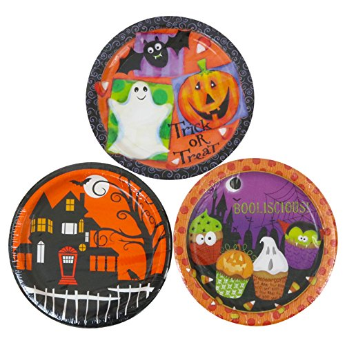 Party House 9 Inch Halloween Paper Plates - 90 Count (Ghost Pretzels Halloween)