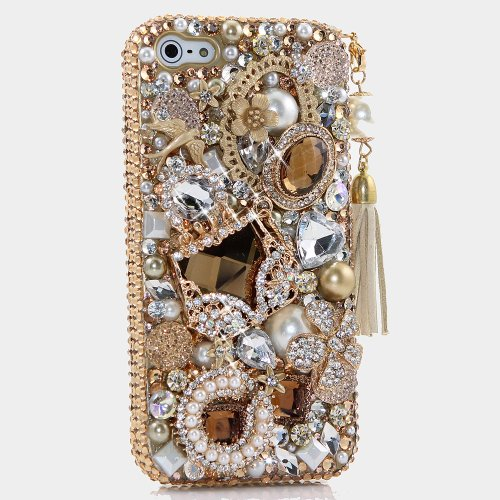 iPhone 6S PLUS Bling Case, iPhone 6 PLUS Case - LUXADDICTION [Premium Quality] 3D Handmade Crystallized Bling Case Easy Grip Crystals Diamond Sparkle Luxury Golden Purse with Phone Charm Cover