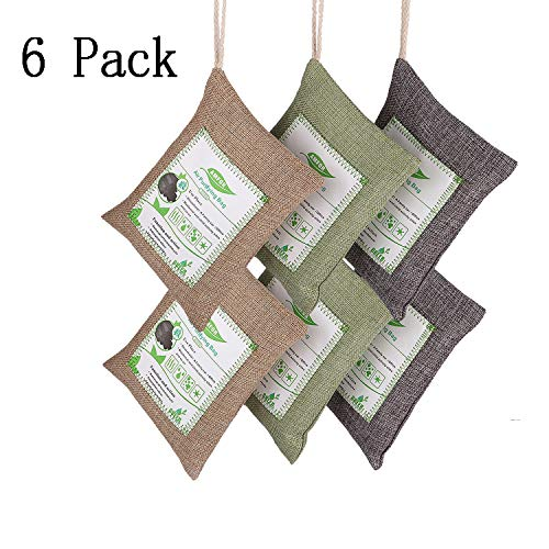YBB 6 Pack Natural Air Purifier Bag(6 x 200g), Deodorizer and Purifier Bags for Refrigerator, Wardrobe, Shoe Cabinet, Kitchen, Shower Room and Pet AreasBamboo Activated Charcoal Air Freshene