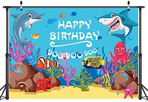 Baby Blue Ocean Shark Banner Photography Birthday Party Background 210cm X 150cm