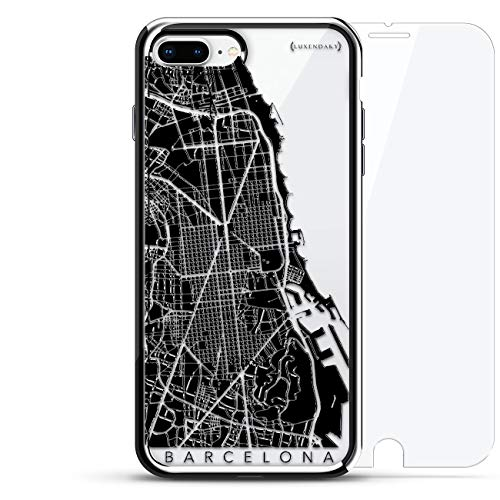 Barcelona Streets Map | Luxendary Chrome Series 360 Bundle: Designer case + Tempered Glass for iPhone 8/7 Plus in Silver ()