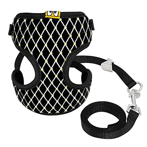 Price comparison product image Buyanputra Puppy Small Dog Plaid Pattern Soft Harness Vest and Leash Set