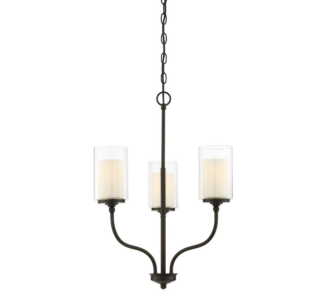 Trade Winds Lighting TW021986ORB Opal Etched 3-Light Hanging Chandelier in Oil Rubbed Bronze