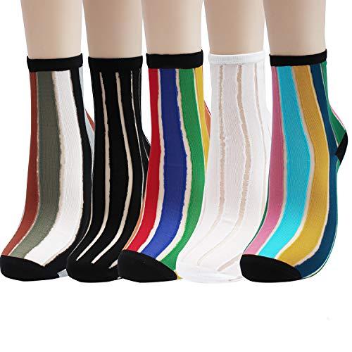 Sheer Mesh Transparent Socks Women - Lace Ultrathin Fishnet See Through Ankle Sock Stripe