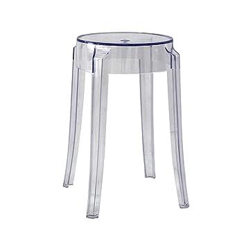LRW Taburetes de plástico, sillas acrílicas espesas ...