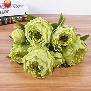 RainbowCo Artificial Silk Fake Flowers Rose Floral Decor Bouquet- 7 Heads Fake Flowers for Decoration in Vase- Vintage Artificial Peony Silk Flowers Bouquet for Decoration- Silk Flowers in Vase 104