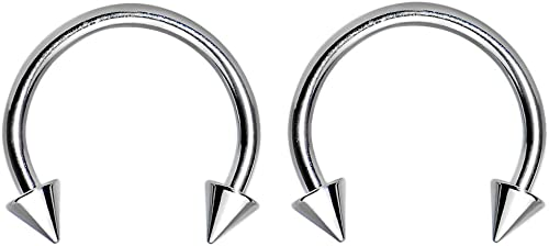 """PAIR Eyebrow Ring Barbell 14g 5//16/"""" Spike Curved Body Jewelry"""