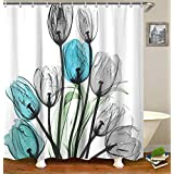 """Livilan Shower Curtain Set with 12 Hooks Floral Bath Curtain Thick Fabric Bathroom Curtains Home Decorations for Bathroom White Blue Grey Tulip Flower Shower Curtain 72""""x 72"""""""